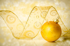 Christmas bauble and ribbon Royalty Free Stock Photography