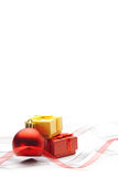 Christmas bauble and ribbon. Festive background. Christmas bauble and ribbons Stock Images