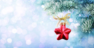 Christmas Bauble Shape Star Hanging On Fir Tree Royalty Free Stock Photo