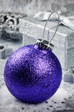 Christmas bauble on silver background Royalty Free Stock Image