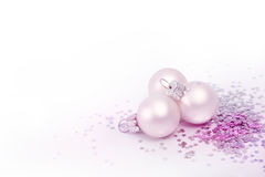 Christmas bauble and silver stars Royalty Free Stock Images