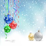 Christmas bauble snow ribbon Royalty Free Stock Photos