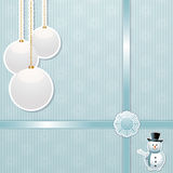Christmas bauble and snowman background Stock Photo