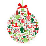 Christmas bauble with social media icons Royalty Free Stock Image