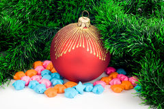 Christmas bauble with star. On a white background Royalty Free Stock Photography