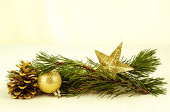 Christmas bauble, star and cone decoration Stock Photo