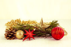 Christmas bauble, star and cone decoration Stock Images