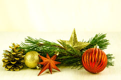 Christmas bauble, star and cone decoration Stock Image