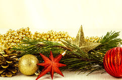 Christmas bauble, star and cone decoration Royalty Free Stock Photography