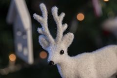 Christmas bauble, stars, trees, bell, balls, snowman, deer and various ornaments stock photography
