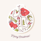 Christmas bauble sticker with christmas hand drawn Royalty Free Stock Images