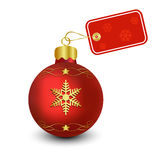 Christmas Bauble with Tag. Red Christmas Bauble with Decorative Tag Stock Photo
