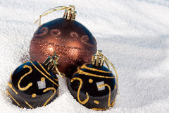 Christmas bauble on to snow. Stock Image