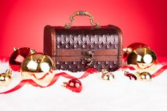 Christmas Bauble With Treasure Box Royalty Free Stock Photos