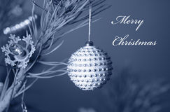Christmas bauble on tree Royalty Free Stock Images