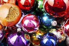 Christmas bauble vintage glass ball ornaments. Blue yellow,red,green,pink,orange,gold, shiny reflective mirrored glass. Balls. Colorful christmas wallpaper Royalty Free Stock Photography