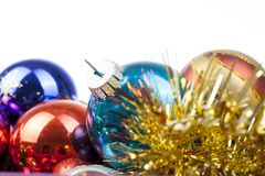 Christmas bauble vintage glass ball ornaments. Blue yellow,red,green,pink,orange,gold, shiny reflective mirrored glass. Balls. Colorful christmas wallpaper Royalty Free Stock Photo