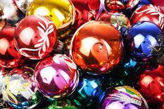Christmas bauble vintage glass ball ornaments. Blue yellow,red,green,pink,orange,gold, shiny reflective mirrored glass. Balls. Colorful christmas wallpaper stock images