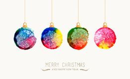 Christmas bauble watercolor greeting card. Merry Christmas handmade watercolor baubles greeting card. EPS10 vector file organized in layers for easy editing