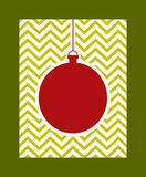 Christmas bauble on a zigzag background Royalty Free Stock Image