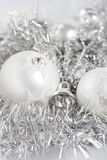 Christmas baubles. Beautiful silver christmas baubles as decoration for the holiday season Stock Image
