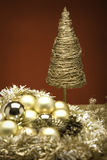 Christmas Baubles. Xmas Baubles and decorations on a table royalty free stock image