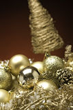 Christmas Baubles. Xmas Baubles and decorations on a table royalty free stock photography