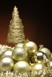 Christmas Baubles. Xmas Baubles and decorations on a table royalty free stock photos
