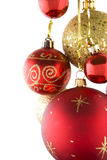 Christmas Baubles. Hanging over a white background stock photography