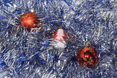 Christmas Baubles. With silver tinsel Royalty Free Stock Photos