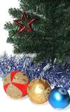 Christmas Baubles. Group of Christmas Baubles under Christmas tree Stock Image