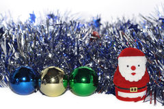 Christmas Baubles. With small Santa Claus Stock Image
