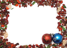 Christmas Baubles. With frame of dried flowers Stock Photography