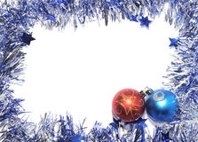 Christmas Baubles. With frame of silver tinsel Stock Images