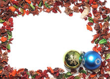 Christmas Baubles. With frame of dried flowers Stock Photo