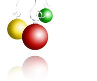 Christmas baubles. On dark snowflake background Stock Images