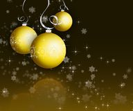Christmas baubles. On dark snowflake background Stock Photography
