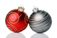 Christmas baubles. Two christmas baubles, isolated on a white background Stock Images