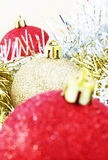 Christmas baubles. Red and gold Christmas baubles Royalty Free Stock Photography