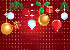 Christmas baubles. Christmas red, golden and white baubles with mistletoe and gifts on red background with stars Stock Photo