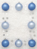 Christmas baubles. A border of Christmas baubles with copy space in the centre Royalty Free Stock Photos