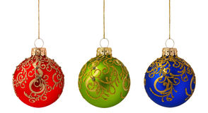 Christmas baubles. Red, green, blue - isolated on white background royalty free stock images