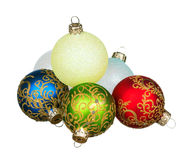 Christmas baubles. Red, green, blue, yellow - isolated on white background stock photo
