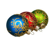 Christmas baubles. Red, green, blue - isolated on white background royalty free stock photo