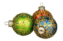 Christmas baubles. Red, green, blue - isolated on white background stock photo