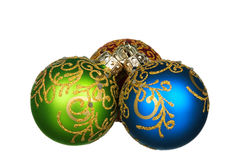 Christmas baubles. Red, green, blue - isolated on white background stock photography