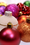 Christmas baubles. Colorful and sparkling christmas baubles stock images
