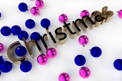 Christmas Baubles. A 3D rendering of the Word Christmas with blue and pink baubles set against a white background Stock Photography