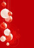 Christmas baubles. Vector illustration of christmas baubles  on red abstract background Stock Photography