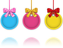 Christmas baubles. Colorful Christmas baubles made of leather tied with bows. Blank holiday labels with reflections. Vector illustration royalty free illustration